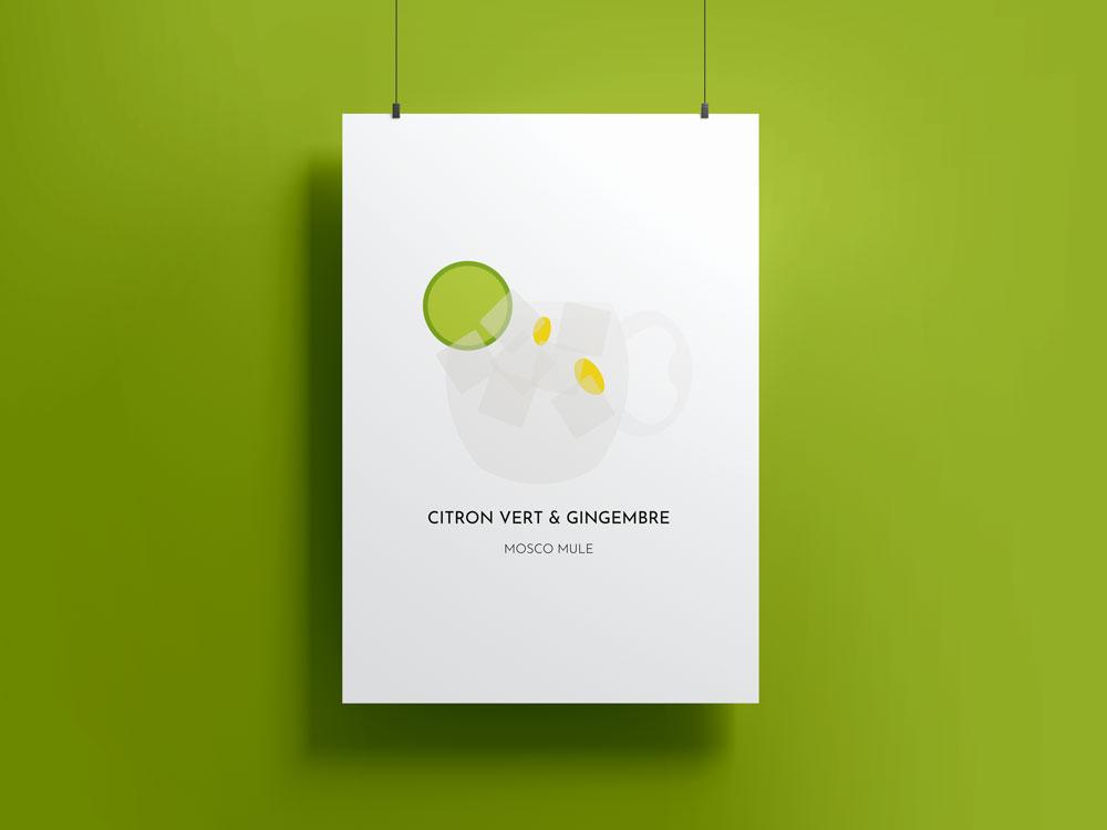 Poster Cocktail party - Mosco mule citron vert et gingembre
